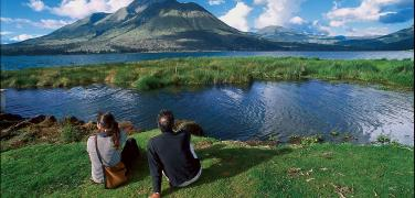 At the shores of the San Pablo Lake during a tour in Otavalo