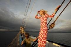 Children enjoying the breeze aboard the Galapagos Yacht Mary Anne