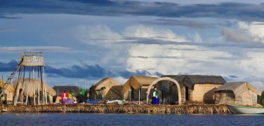 The floating islands of Uros in Titicaca Lake